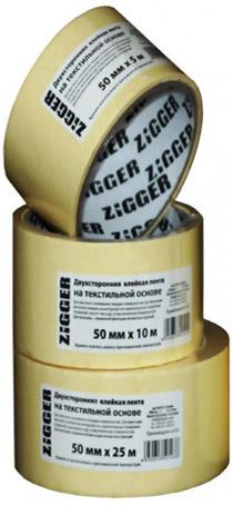 Лента ZIGGER двусторонняя 50 мм х 25 м на тканевой основе 07-04-23